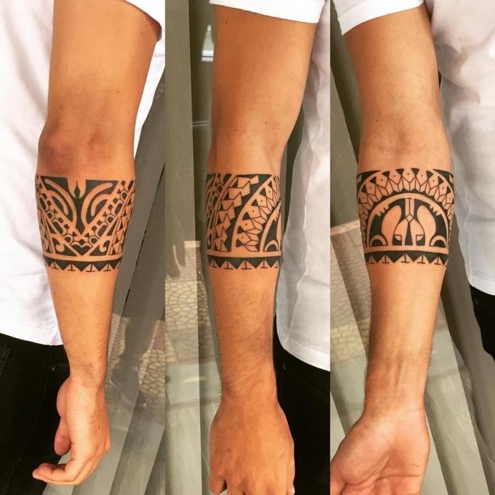 tattoo trends 2019, mann mit tätowierung am unterarm, samoanische symbole