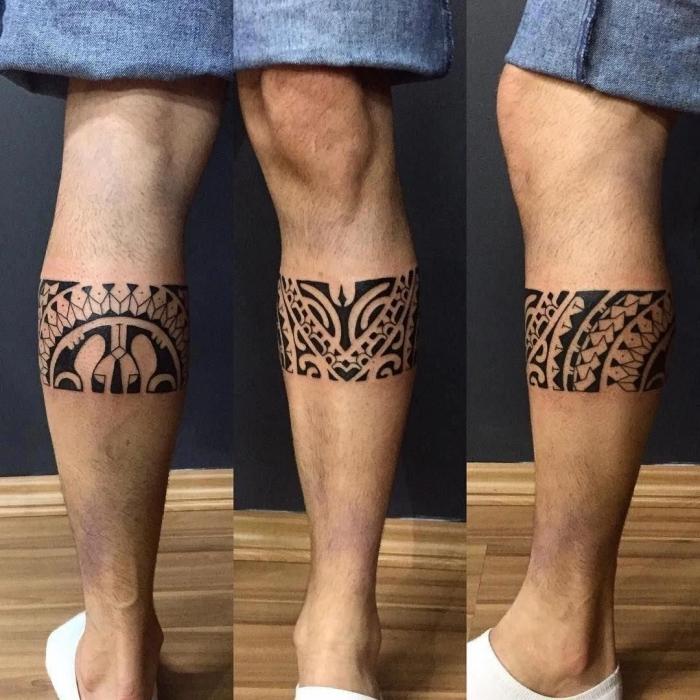 tattoo trends 2019, tribal band am bein, tätowerungen für männer, symbole mit beudeutng