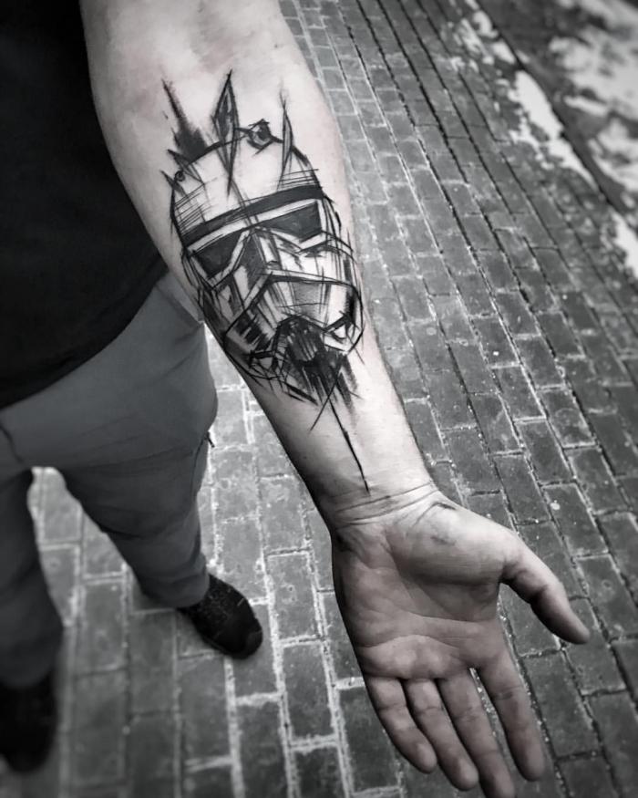tattoo unterarm mann, blackwork tätowierung, beliebte motive für männer, kopf