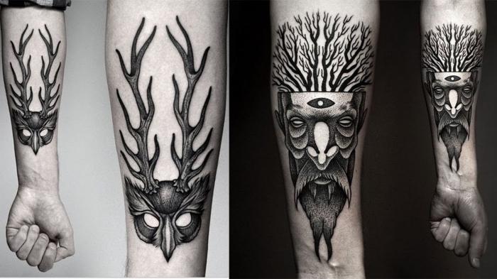tattoo unterarm mann, maske mit geweih, waldgeist am arm, blackwork tätowierungen