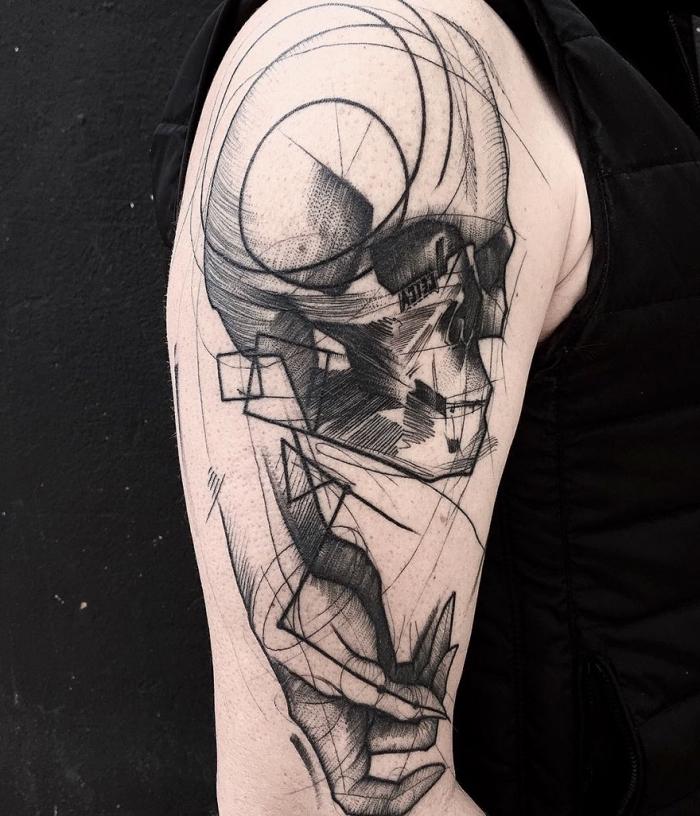 tattoos männer arm, totenkopf ij kombination mit hand, blackwork tätowierung in modernem design