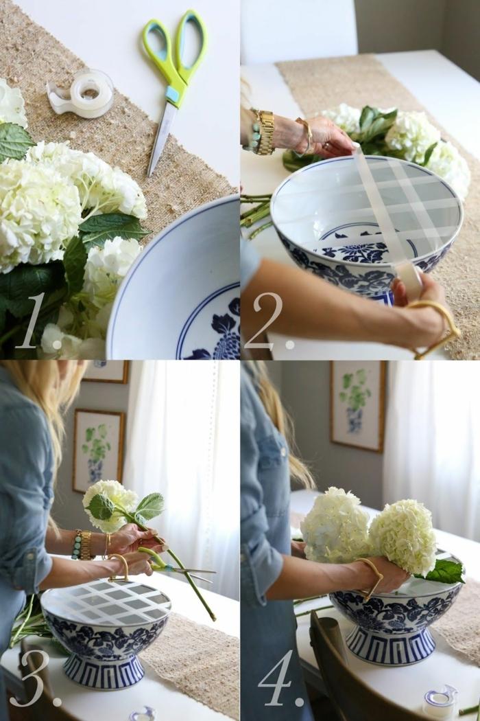 Frühlingsdeko aus Naturmaterialien selber machen. Blumengestaltung in einer großen blauen Vase, DIY Anleitung Schritt für Schritt