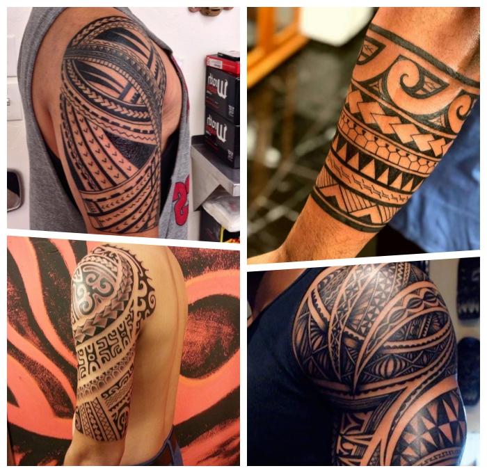 tribal tattoo arm, große detaillierte tätowierungen in schwarz und grau, geometrische elemente