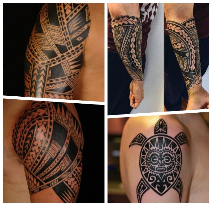 tribal tattoo arm, polynesische tätowierungen, die beleibtesten designs für männer, geometrische motive