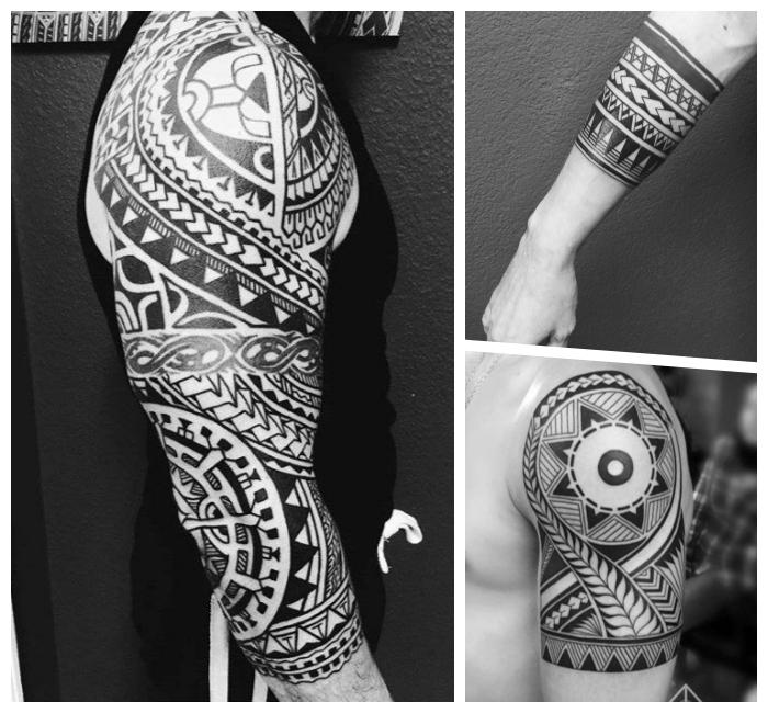 tribal tattoo designs für herren, geometrische motive, tätowierungen für männer