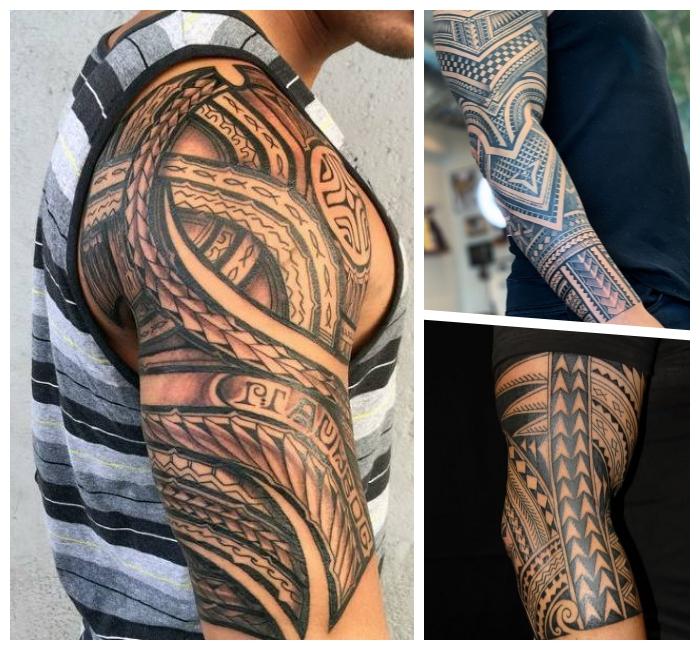 tribal tattoo designs für männer, große tätowierung am unterarm, beleibte motive für herren