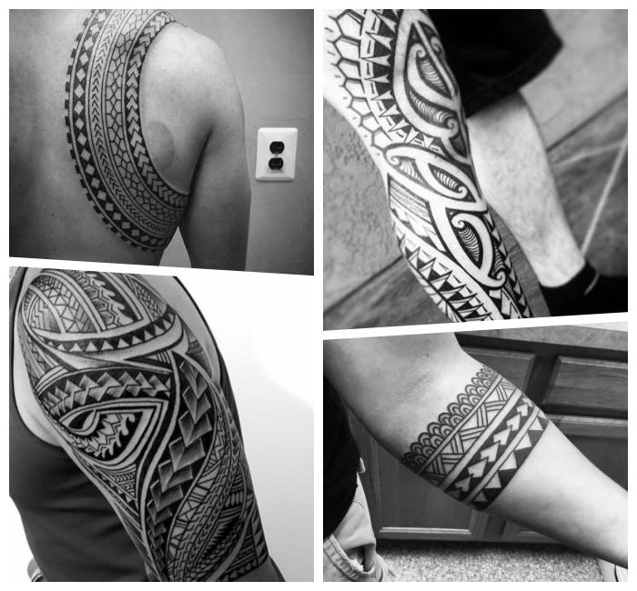 tribal tattoo ideen und designs für männer, blakcwork tätowierungen mit geometrischen elementen