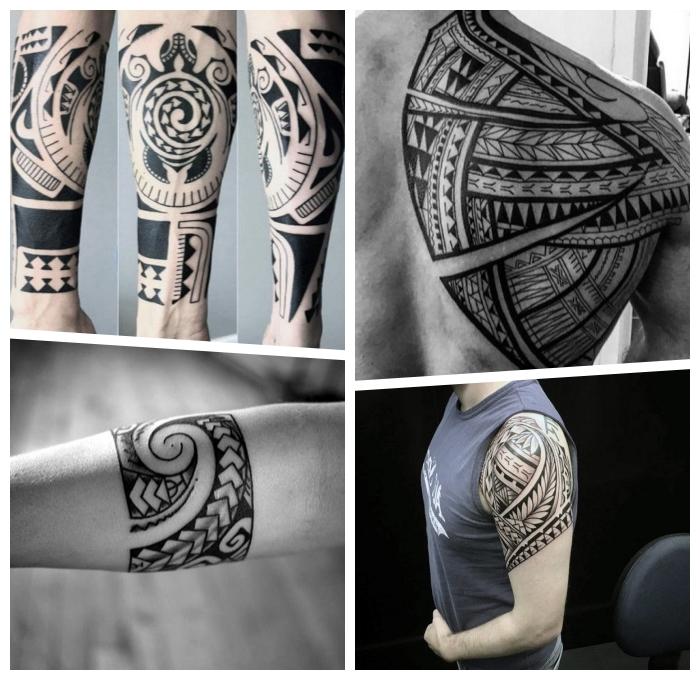 tribal tattoo vorlagen für männer, maori band, samoanische symbole, tätowierungen mit beudetung