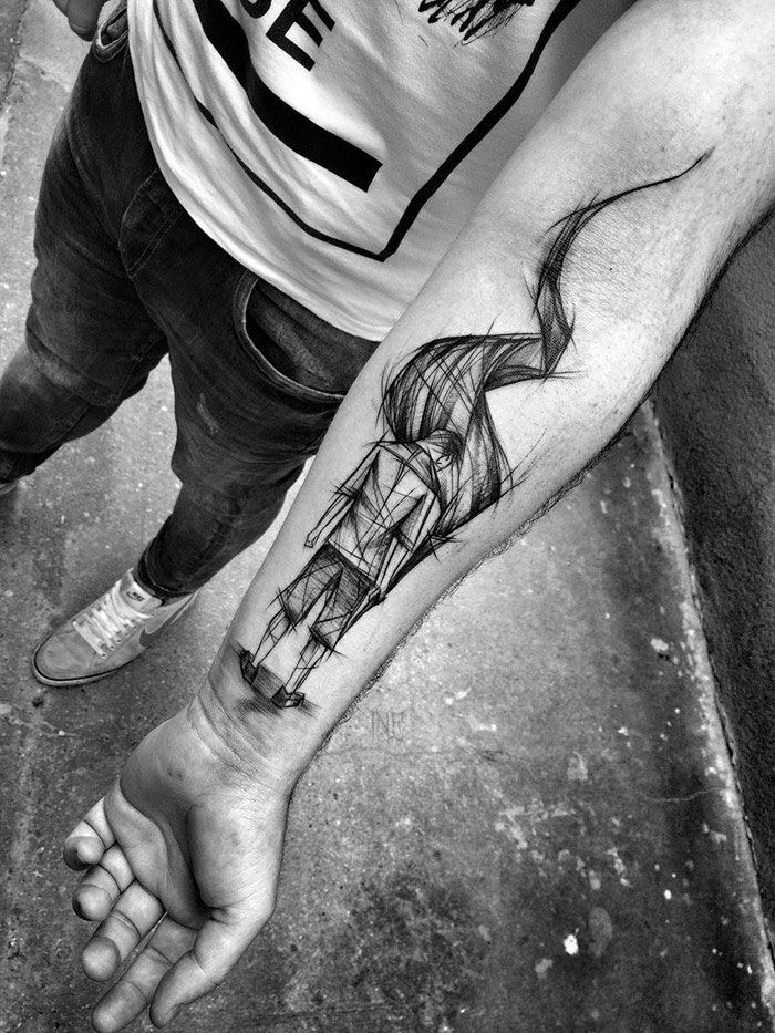 unterarm tattoo mann, beliebte motive für männer, modernes design, blackwork tätowierung
