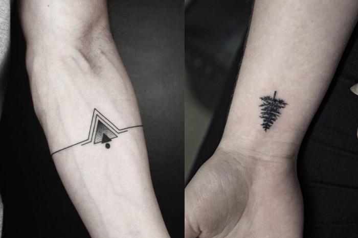 unterarm tattoo mann, kleine minimalistische tätowierungen, kleiner baum, dreiecke