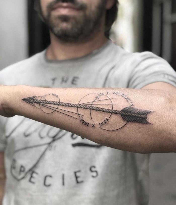 unterarm tattoo mann, pfeil in kombination mit kreisen und weltrichtungen, tätowierung