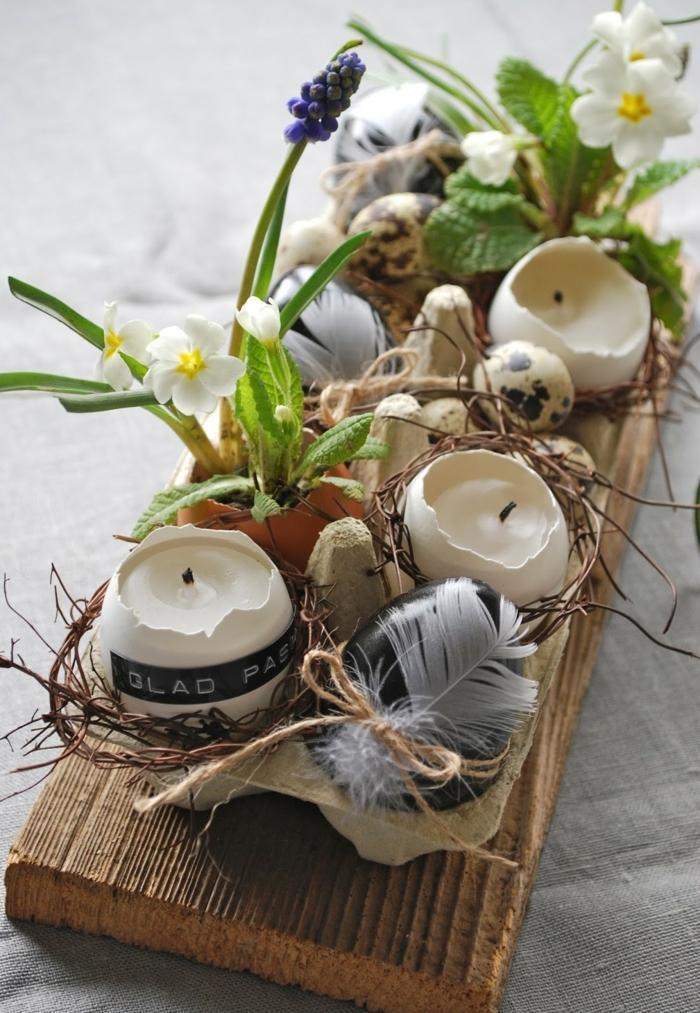 Upcyclen von Eierschalen zu Kerzenhalter, Frühlingsdeko aus Naturmaterialien selber machen, lila Schneeglöckchen,