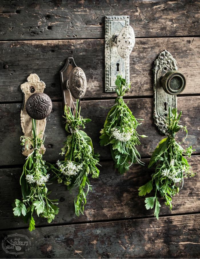Upcycling Ideen Garten, Wiederverwenden von alten Türgriffen, aufgehängte Pflanzen auf Türknäufe, gartendeko selber machen