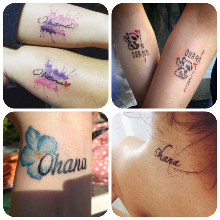 ohana tattoo, beliebte designs, wasserfarben tätowierungen in lila und rosa, symbol für familieund zusammenhalt