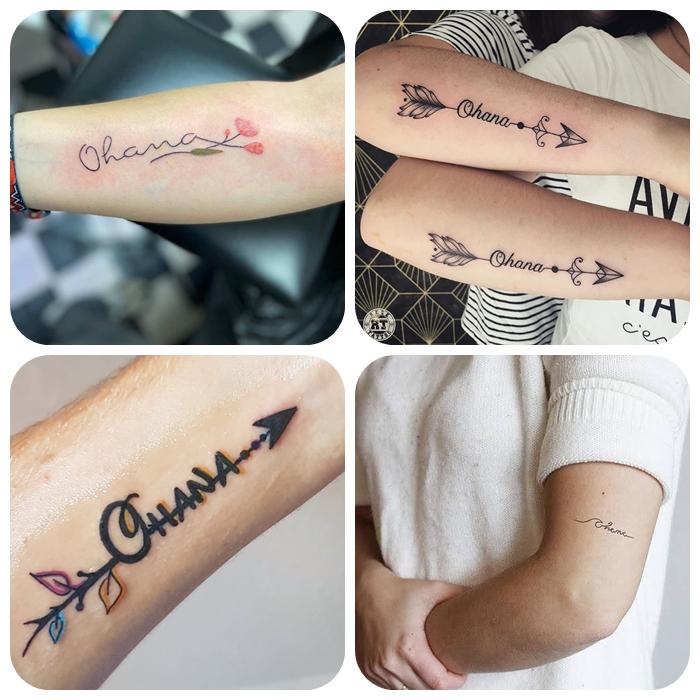ohana tattoo, die bestne designs, beliebte motive für geschwister,symbol für amilie