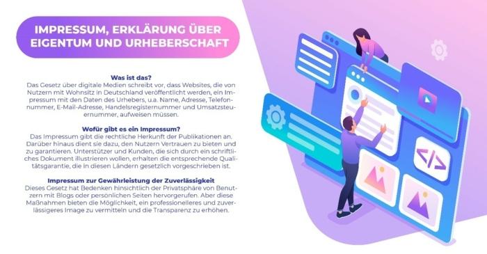 Impressum, Erklärung über Eigentum und Urherberschaft, Bild mit Text, E-Commerce, DIY Shop im Internet