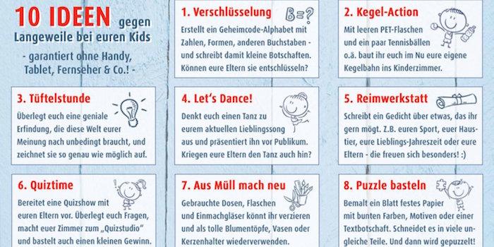 Aktivitäten für Kinder zu Hause, 10 Ideen gegen Langeweile, ohne Handy Tablet und Fernseher
