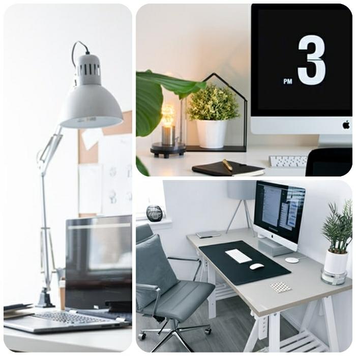 arbeitszimmer einrichten, home office gestalten, beleuchtung ideen, stehlampen