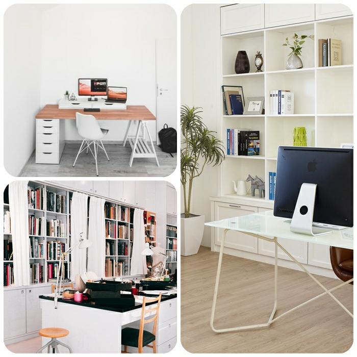 arbeitszimmer einrichten ideen, home office gestaltung, stauraum schaffen, regale