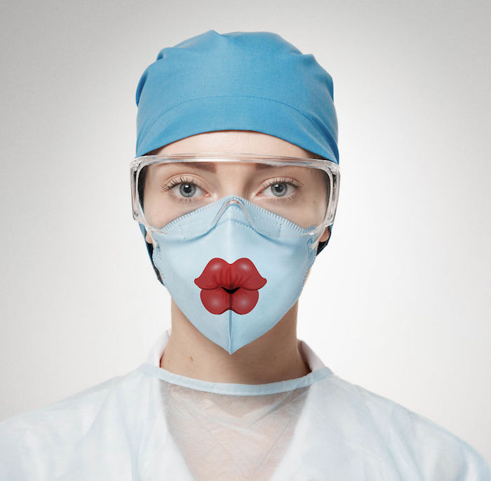 Atemschutzmaske gegen Viren, lustige Designs, rote Lippen