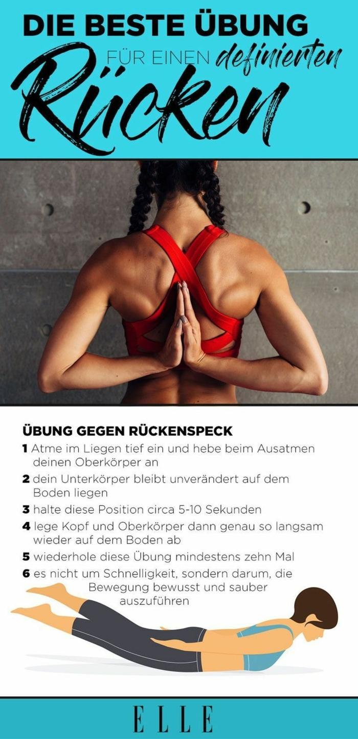 Übungen gegen Rückenschmerzen mit Erklärung und Ratschläge, Foto von einer Frau mit rotem Sport BH, Fit ohne Geräte