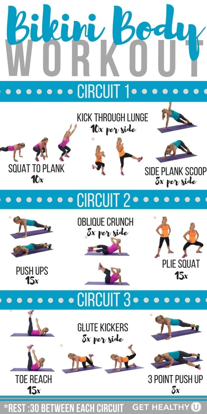 Bikini Body Workout für den ganzen Körper, Sport für Anfänger, Frau demonstriert Übungen,