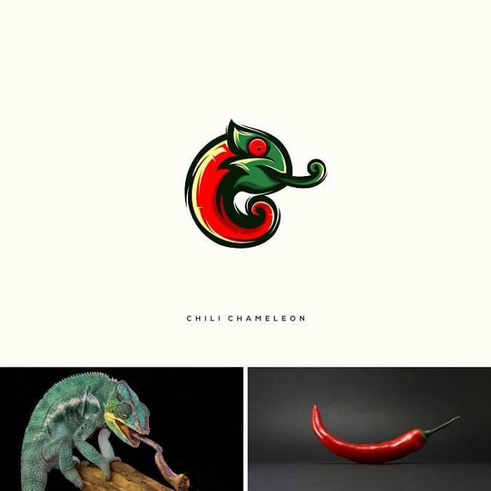 markenlogo von dem designer rendy cemixm cghili chameleon, ein bild mit einem grünen chamäleon