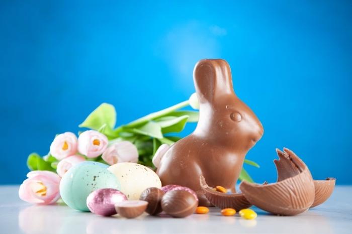 bilder ostern, rosa blumen, leckereien für die kinder, frohes osterfest, schokoladenhase
