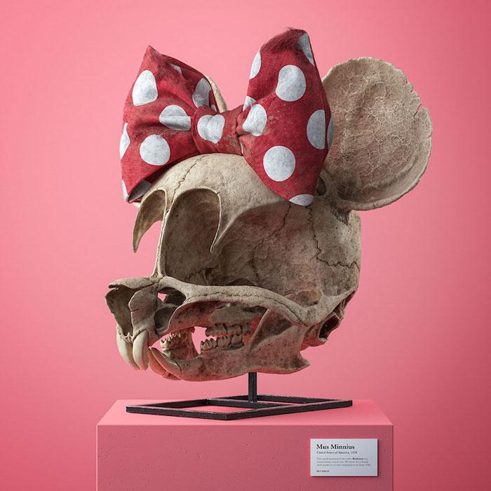 schädeln von minnie maus, projeckt cartoon fossils von dem designer filip hodas