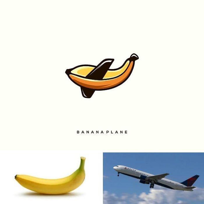 markenlogo von dem designer rendy cemix , ein bild mit Banane und ein flugzeug, bananaplane