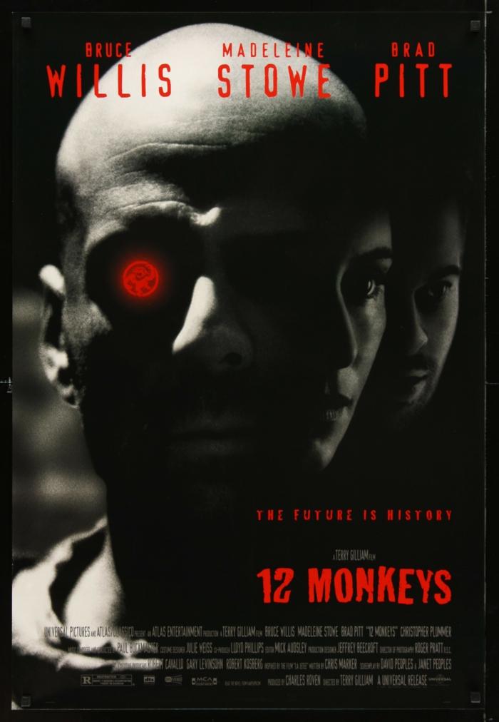 der schauspieler bruce willis, madeleine stowe und brad bitt, die besten filme über viern, emidemien und pandemien, poster zu dem film 12 monkeys