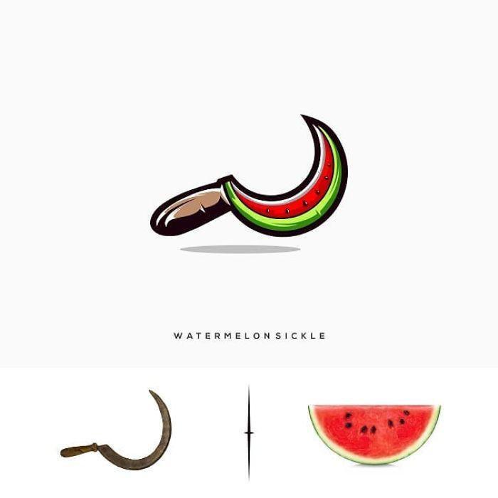 bild mit einer sichel und einer Wassermelone, watermelonsicle, markenlogo von dem designer rendy cemix
