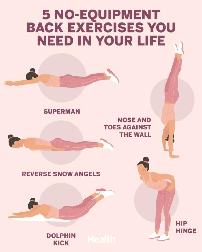 fünf Übungen für den Rücken ohne Geräte, was kann man zuhause machen, Sport und Gesundheit, pinkes Foto