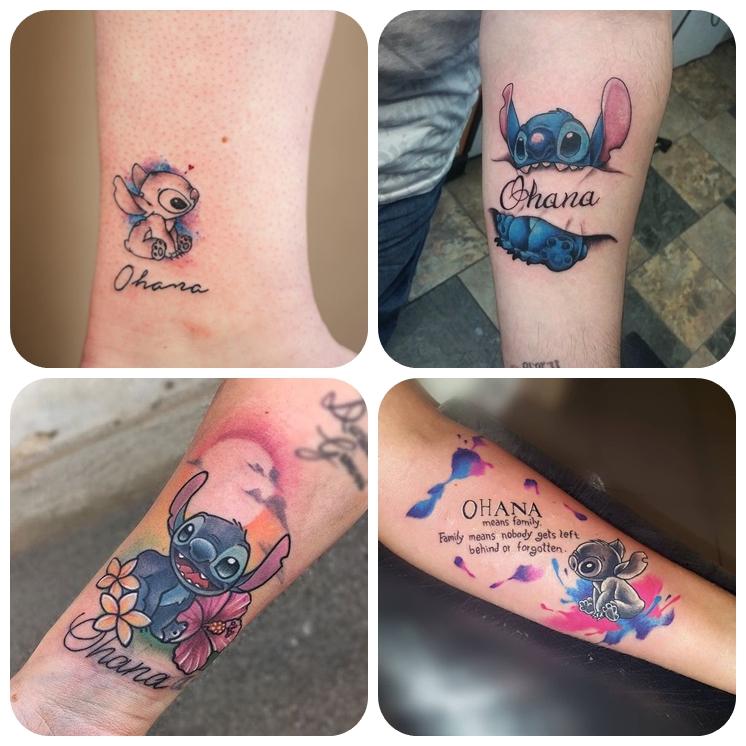 familien tattoo am arm, farbige tätowierungen mit stitch als motiv, beliebte motive, ohana