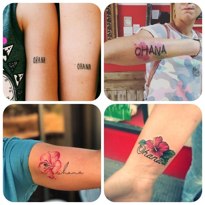 familien tattoo die besten ideen, tätoweirungen mit beudetung, motive für geschwister, hisbiskus