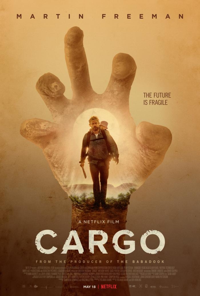 der schauspieler martin freeman, poster zu dem film cargo von dem streaming dienst netflix, eine große hand, mann und ein kind