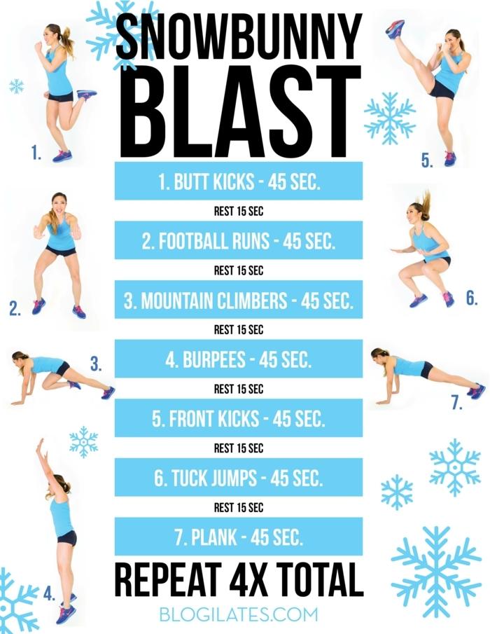 Snowbunny Blast, sieben verschiedene Übungen und Erklärungen, sportübungen für zuhause