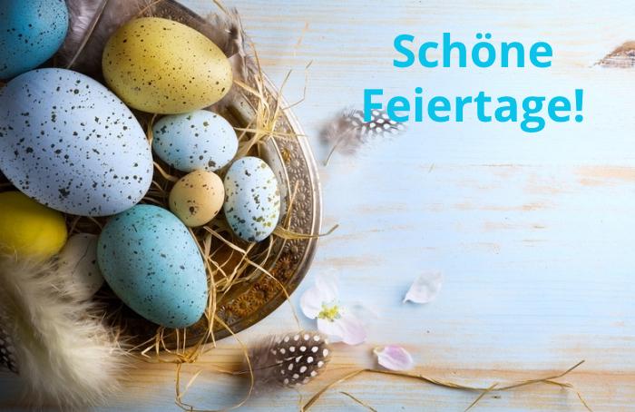 frohe ostern, die besten wünsche, schöne feiertage, osternest mit eiern, ostereier
