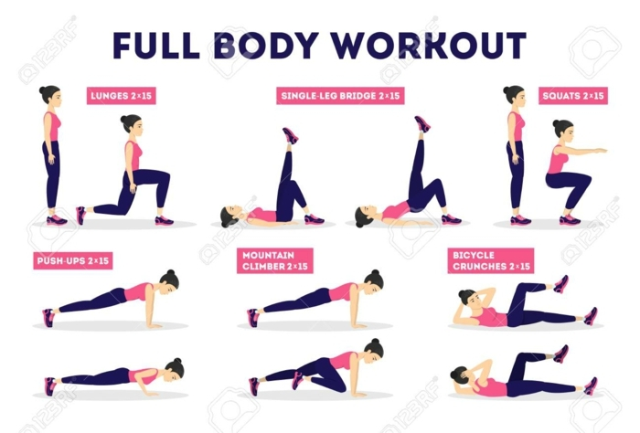 Ganzkörper Training und Übungen, Full Body Workout, Lunges und Squats, bester Sport zum Abnehmen