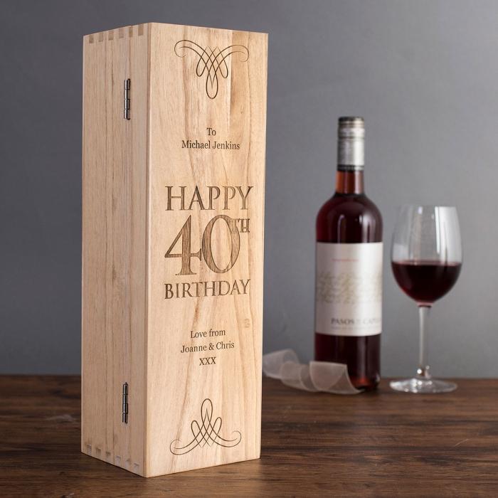 geburtstagsgeschenke für männer, geschenk zum 40 geburtstag, weinglasche mit glas, wein set