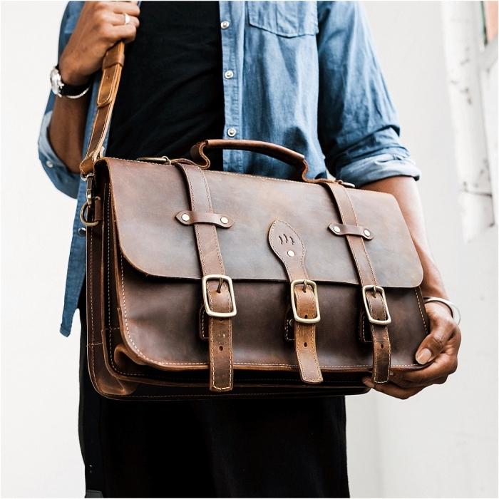 geschenk für freund weihnachten, große tasche aus leder, ledertasche zum arbeit, arbeitstasche