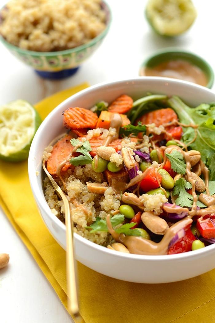 Tahi Kokosnuss Bowl mit Quinoa Karotten Süßkartoffeln Edamame, vegane Hauptgerichte für Gäste, leckere und gesunde Ernährung