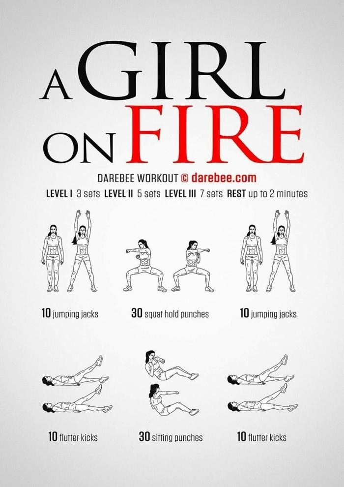 A Girl on Fire sechs Übungen, Training für den ganzen Körper, Sportübungen für zuhause,