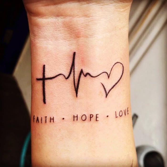 Liebe Glaube Hoffnung Tattoo am Handgelenk, Tattoo Motive mit Bedeutung