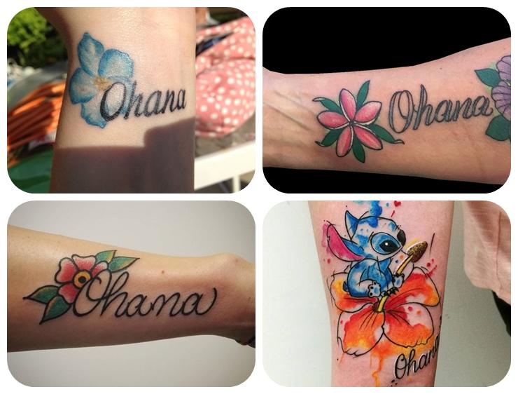 kleine tattoos familie, farbige tötowierungen mit beduetung, ohana beudeutng, wasserfarben