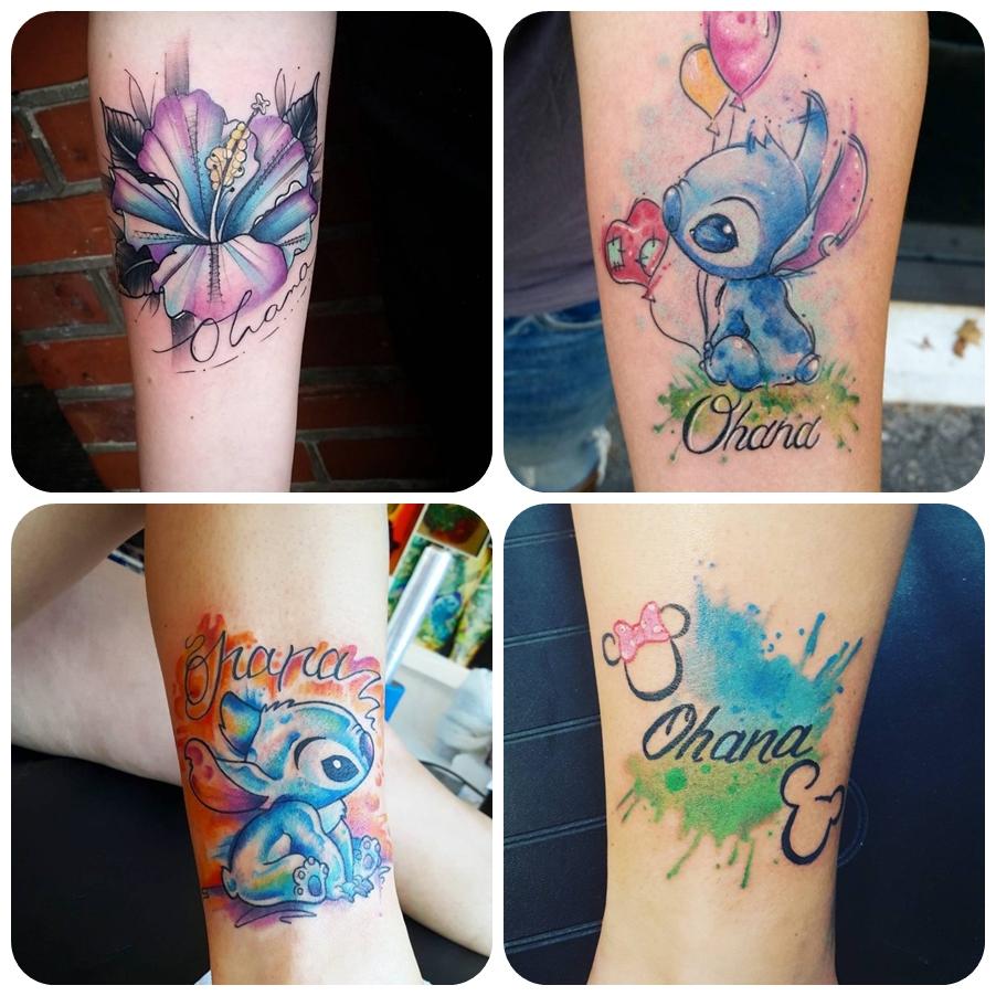 kleine tattoos familie, farbige tätowierungen am arm, hibiskusblüte in lila und blau, ohana beduetung