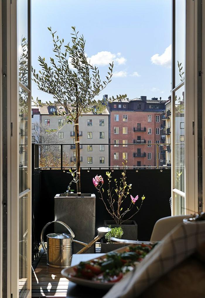 Dekorativer Baum für die Terrasse, Balko Inspiration, schöne pinke Blume, Gießkanne für Pflanzen aus Metall
