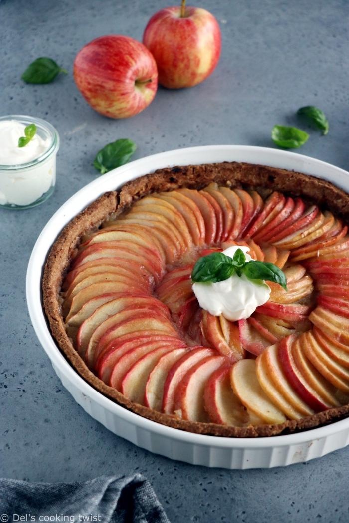 kuchen ohne mehl und zucker kalorierenarm, tarte mit äpfeln, apfelkuchen