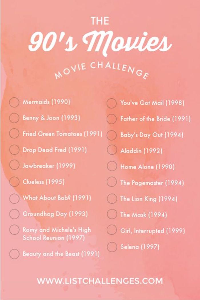 90er Filme Herausforderung gegen Langweile, Liste mit 20 Filmtiteln