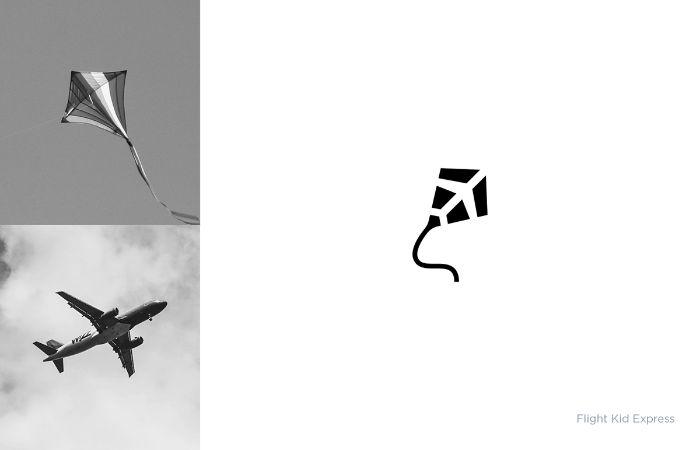 bild mit einem flugzeug und drache, flight kid express, ein logo von dem indischen designer shibu pg